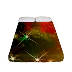 Star Christmas Background Image Red Fitted Sheet (full/ Double Size) by Nexatart