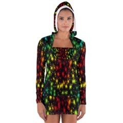 Star Christmas Curtain Abstract Women s Long Sleeve Hooded T Shirt