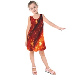 Star Christmas Pattern Texture Kids  Sleeveless Dress