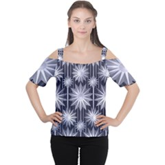 Stars Patterns Christmas Background Seamless Women s Cutout Shoulder Tee