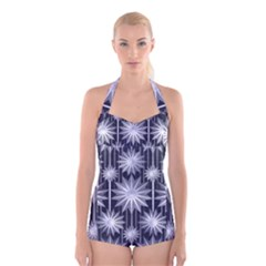 Stars Patterns Christmas Background Seamless Boyleg Halter Swimsuit