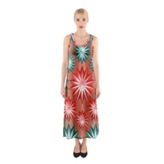 Stars Patterns Christmas Background Seamless Sleeveless Maxi Dress by Nexatart