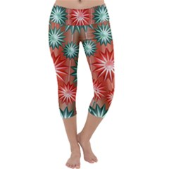 Stars Patterns Christmas Background Seamless Capri Yoga Leggings