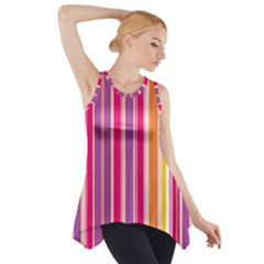 Stripes Colorful Background Pattern Side Drop Tank Tunic