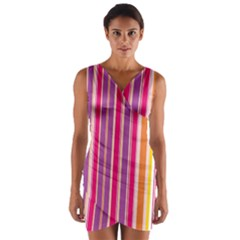 Stripes Colorful Background Pattern Wrap Front Bodycon Dress
