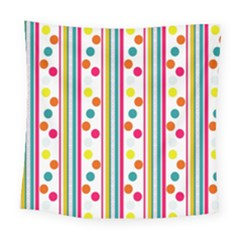 Stripes Polka Dots Pattern Square Tapestry (large)