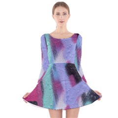 Texture Pattern Abstract Background Long Sleeve Velvet Skater Dress
