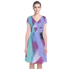 Texture Pattern Abstract Background Short Sleeve Front Wrap Dress by Nexatart