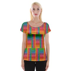 Texture Surface Rainbow Festive Women s Cap Sleeve Top