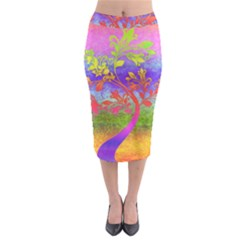 Tree Colorful Mystical Autumn Midi Pencil Skirt by Nexatart