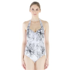 Tree Knots Bark Kaleidoscope Halter Swimsuit
