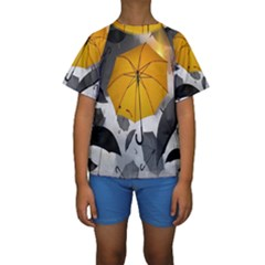 Umbrella Yellow Black White Kids  Short Sleeve Swimwear