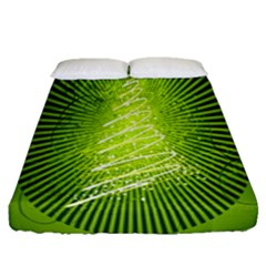 Vector Chirstmas Tree Design Fitted Sheet (queen Size)