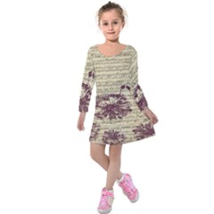 Vintage Music Sheet Song Musical Kids  Long Sleeve Velvet Dress by Nexatart