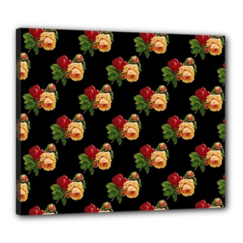 Vintage Roses Wallpaper Pattern Canvas 24  X 20
