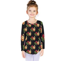 Vintage Roses Wallpaper Pattern Kids  Long Sleeve Tee by Nexatart