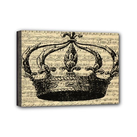 Vintage Music Sheet Crown Song Mini Canvas 7  X 5  by Nexatart