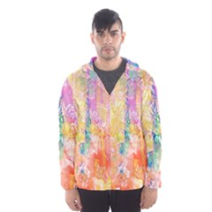 Watercolour Watercolor Paint Ink Hooded Wind Breaker (men) by Nexatart