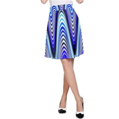 Waves Wavy Blue Pale Cobalt Navy A Line Skirt by Nexatart
