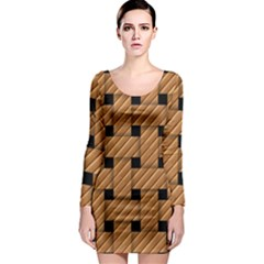 Wood Texture Weave Pattern Long Sleeve Bodycon Dress