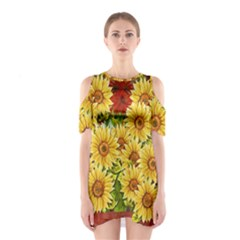 Sunflowers Flowers Abstract Shoulder Cutout One Piece