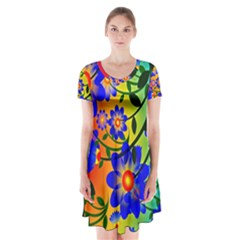 Abstract Background Backdrop Design Short Sleeve V Neck Flare Dress by Amaryn4rt