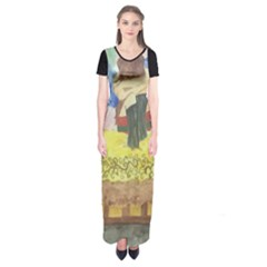 Lunacy Of Spirit Short Sleeve Maxi Dress by artsystorebytandeep