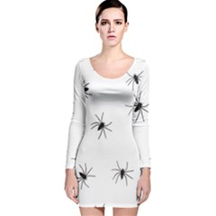 Animals Arachnophobia Seamless Long Sleeve Velvet Bodycon Dress