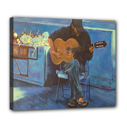 Man And His Guitar Deluxe Canvas 24  X 20   by digitaldivadesigns