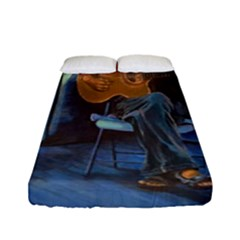 Man And His Guitar Fitted Sheet (full/ Double Size) by digitaldivadesigns