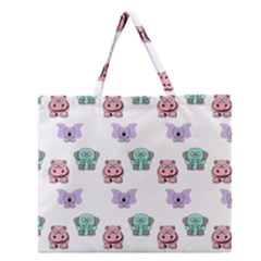 Animals Pastel Children Colorful Zipper Large Tote Bag