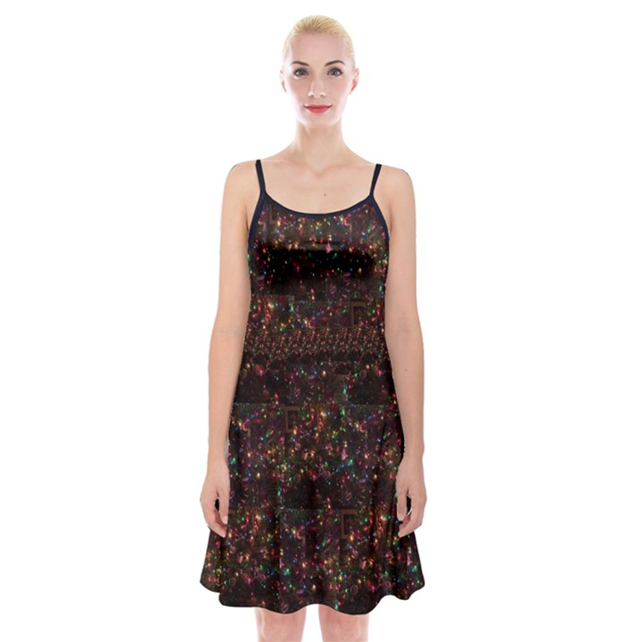 Russian New Year s Tree Lights Spaghetti Strap Velvet Dress