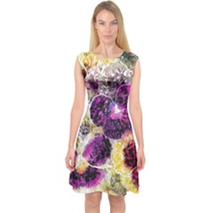 Background Flowers Capsleeve Midi Dress by Amaryn4rt
