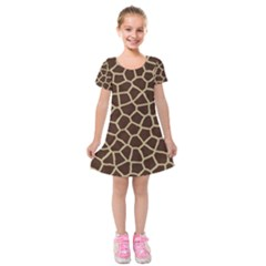 Giraffe Animal Print Skin Fur Kids  Short Sleeve Velvet Dress