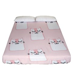 Pattern Cat Pink Cute Sweet Fur Fitted Sheet (queen Size) by Amaryn4rt