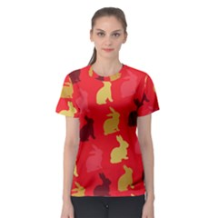 Hare Easter Pattern Animals Women s Sport Mesh Tee by Amaryn4rt
