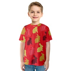 Hare Easter Pattern Animals Kids  Sport Mesh Tee