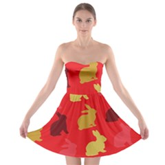Hare Easter Pattern Animals Strapless Bra Top Dress by Amaryn4rt