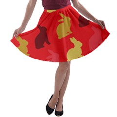 Hare Easter Pattern Animals A Line Skater Skirt