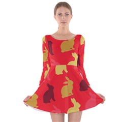 Hare Easter Pattern Animals Long Sleeve Velvet Skater Dress by Amaryn4rt