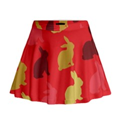 Hare Easter Pattern Animals Mini Flare Skirt