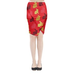 Hare Easter Pattern Animals Midi Wrap Pencil Skirt by Amaryn4rt