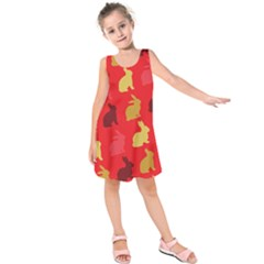 Hare Easter Pattern Animals Kids  Sleeveless Dress by Amaryn4rt