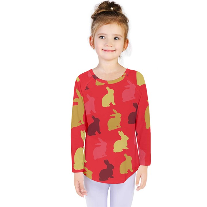 Hare Easter Pattern Animals Kids  Long Sleeve Tee