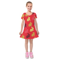 Hare Easter Pattern Animals Kids  Short Sleeve Velvet Dress by Amaryn4rt