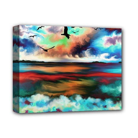 Ocean Waves Birds Colorful Sea Deluxe Canvas 14  X 11  by Amaryn4rt