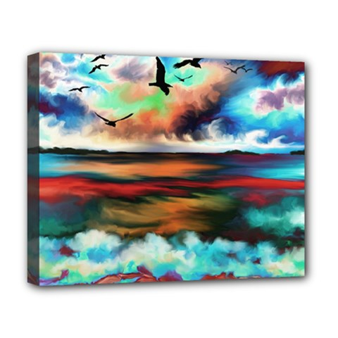 Ocean Waves Birds Colorful Sea Deluxe Canvas 20  X 16   by Amaryn4rt