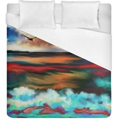 Ocean Waves Birds Colorful Sea Duvet Cover (king Size) by Amaryn4rt
