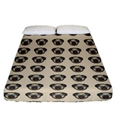 Puppy Dog Pug Pup Graphic Fitted Sheet (queen Size) by Amaryn4rt