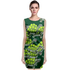 Seamless Tile Background Abstract Turtle Turtles Classic Sleeveless Midi Dress by Amaryn4rt